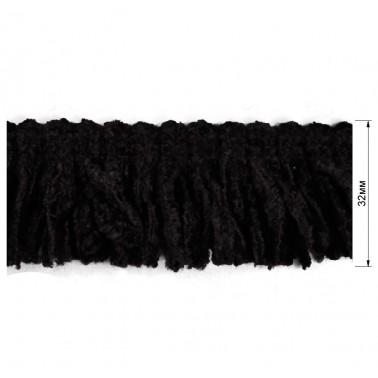 Тесьма декоративная с бахромой, цвет черный