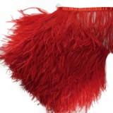 Тесьма декоративная с перьями, цвет красный