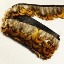 Тесьма декоративная с перьями, цвет серый+коричневый
