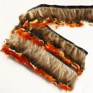 Тесьма декоративная с перьями, цвет серый+оранжевый