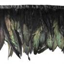 Тесьма декоративная с перьями, цвет черный+ т.зеленый