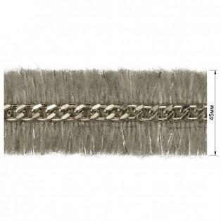 Тесьма декоративная с цепочкой, цвет серый+никель