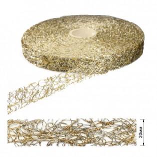 Тесьма декоративная, цвет золото+никель