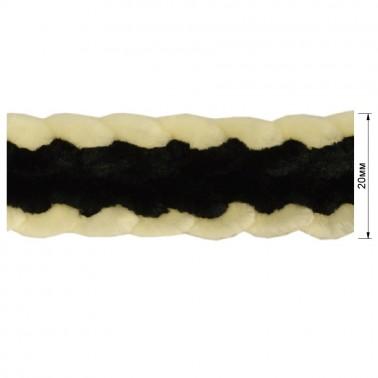 Тесьма декоративная, цвет молочный+черный