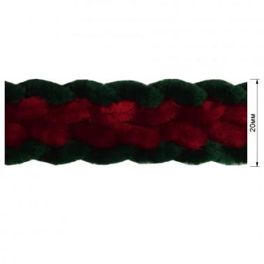 Тесьма декоративная, цвет зеленый+красный
