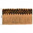 Тесьма декоративная с бахромой, цвет бежевый+разноцветный