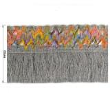 Тесьма декоративная с бахромой, цвет cерый+разноцветный