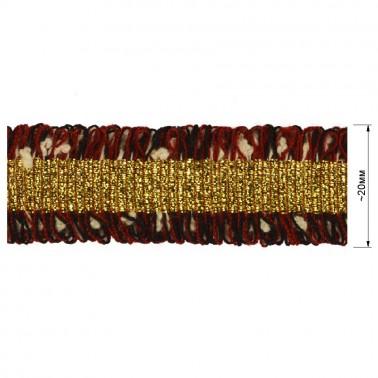 Тесьма декоративная с бахромой , цвет бордо+черный+золото