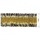 Тесьма декоративная с бахромой , цвет белый+черный+золото
