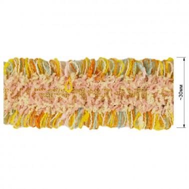 Тесьма декоративная с бахромой , цвет золото+разноцветный