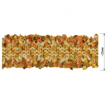 Тесьма декоративная с бахромой , цвет оранжевый+т.зеленый+белый