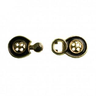 Застежка клевант декоративная, металлическая, цвет золото+черный
