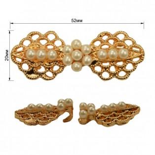 Застежка декоративная металлическая, цвет золото+жемчуг