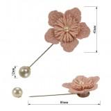 Брошь-шпилька, цветок вязанный, цвет розовый+розовый+жемчуг