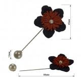 Брошь-шпилька, цветок вязанный, цвет темно-синий+красный+жемчуг