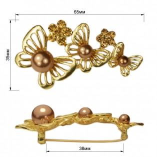 Брошь на булавке  три бабочки , цвет матовое золото