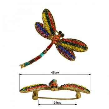 Брошь на булавке  стрекоза , цвет золото+разноцветный