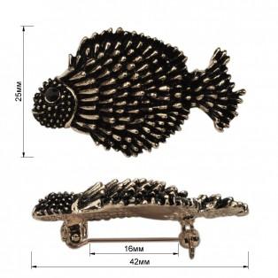 Брошь на булавке ,  рыбка ,  цвет никель+черный