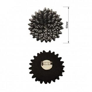 Брошь на булавке, текстиль,  цветок ,  цвет никель+черный