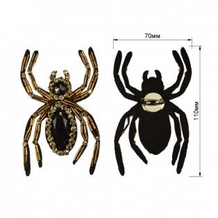 Брошь на булавке  паук ,  цвет черный