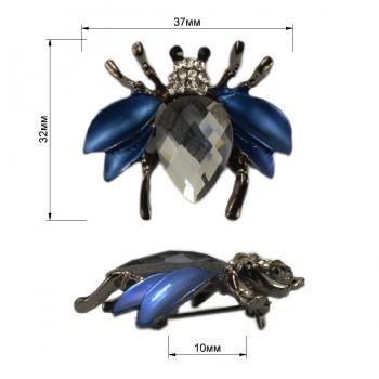 Брошь на булавке  жук , цвет оксид+синий
