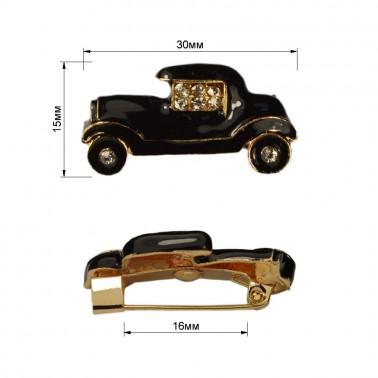 Брошь на булавке  машина , цвет золото+черный