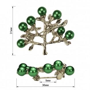Брошь на булавке ,  lдерево ,  цвет никель+зеленый
