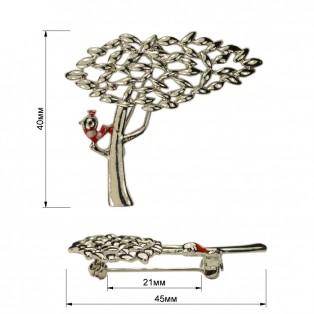 Брошь на булавке ,  дерево с птичкой ,  цвет никель