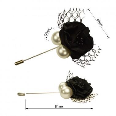 Брошь-шпилька,  розочка, цвет черный+жемчуг