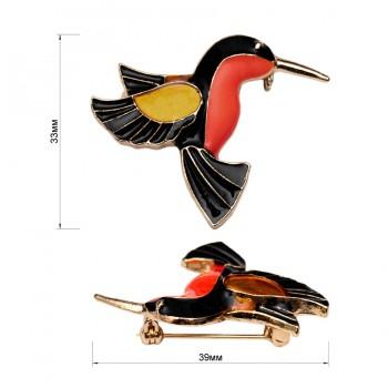 Брошь на булавке  птичка ,  цвет золото+черный+оранжевый+розовый