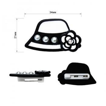 Брошь на булавке  шляпка белая ,  цвет белый+черный