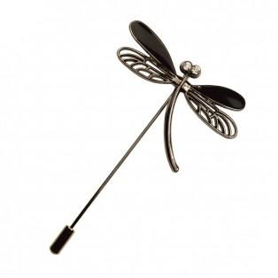 Брошь-шпилька  стрекоза , цвет никель+черный