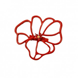 Брошь на булавке  цветок-мак , цвет красный