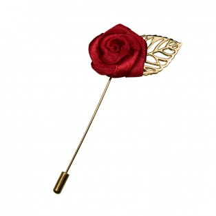 Брошь-шпилька  роза , цвет золото+бордо