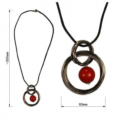 Кулон на шнурках, шар, цвет оксид+красный