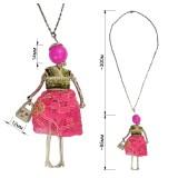Кулон на цепочке,  цвет розовый+люрекс+никель