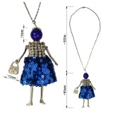 Кулон на цепочке,  цвет синий пайетки+страза+никель