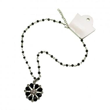 Кулон, ромашка маленькая, цвет черный+никель
