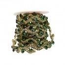 Лента декоративная из камней и страз, цвет золото+т.зеленый