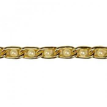 Цепь металлическая, цвет золото+жемчуг