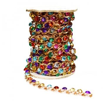 Лента декоративная из камней и страз, цвет золото+ разноцветные