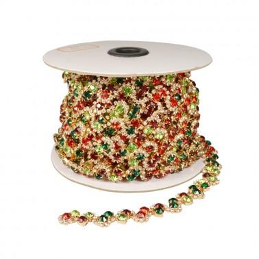 Лента декоративная из камней и страз, цвет золото+красный+зеленый