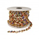 Лента декоративная из камней и страз, цвет золото+разноцветный