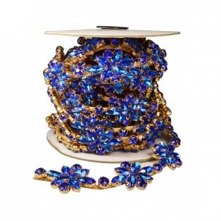 Лента декоративная из камней и страз, цвет золото+синий