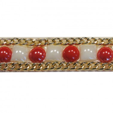 Лента декоративная клеевая, цвет красный+золото