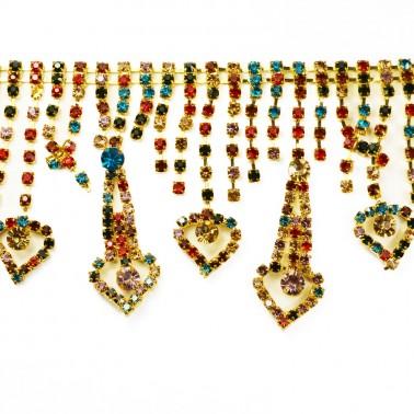 Лента декоративная из камней, цвет золото+камни разноцветные