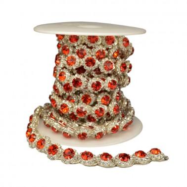 Лента декоративная со стразами, цвет серебро+красный