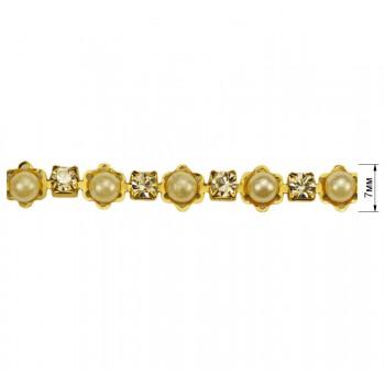 Лента декоративная, цвет золото+жемчуг+страза