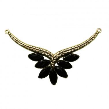 Украшение-горловина, металлическое, павлиний хвост, цвет золото+черный