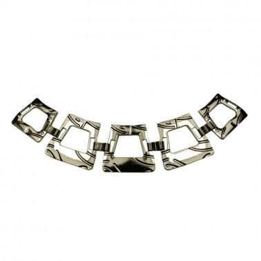 Украшение-горловина, металлическое, прямоугольник, цвет никель